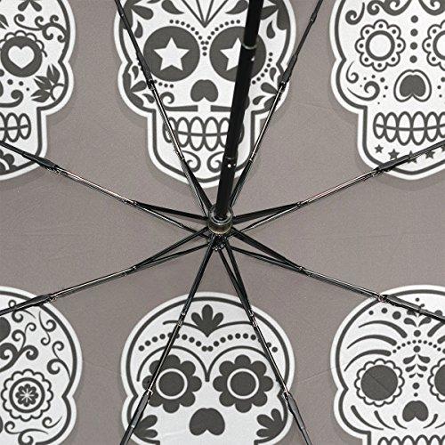 GUKENQ - Paraguas de Viaje con diseño de Calavera de azúcar, Ligero, antirayos UV, para Hombres, Mujeres, niños, Resistente al Viento, Plegable, Paraguas ...