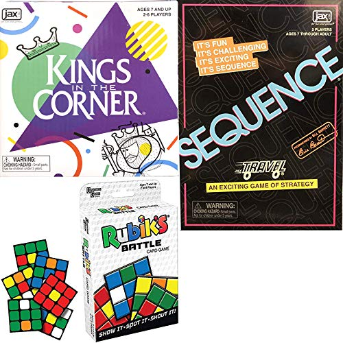 Play Family Strategy Travel Action: Kings in The Corner + Rubik's Battle Game + Sequence Fun time Cards Winners Night Fun 3 Pack (Kings In The Corner Game)