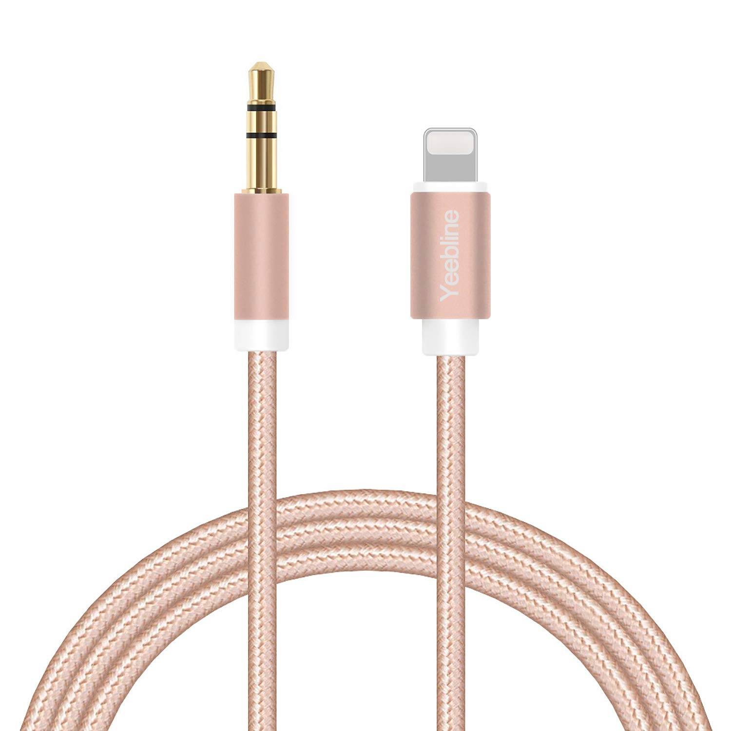 Aux Cable Compatible with iPhone 8, Yeebline Phone to 3.5mm Male Stereo Audio Adapter [Aluminum Shell, Nylon Braided] Trusted Car Stereo Aux Cord - Pink by Yeebline