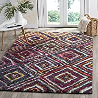 Safavieh Fiesta Shag Collection FSG384M Geometric Abstract Diamond Multicolored Area Rug (3 x 5)