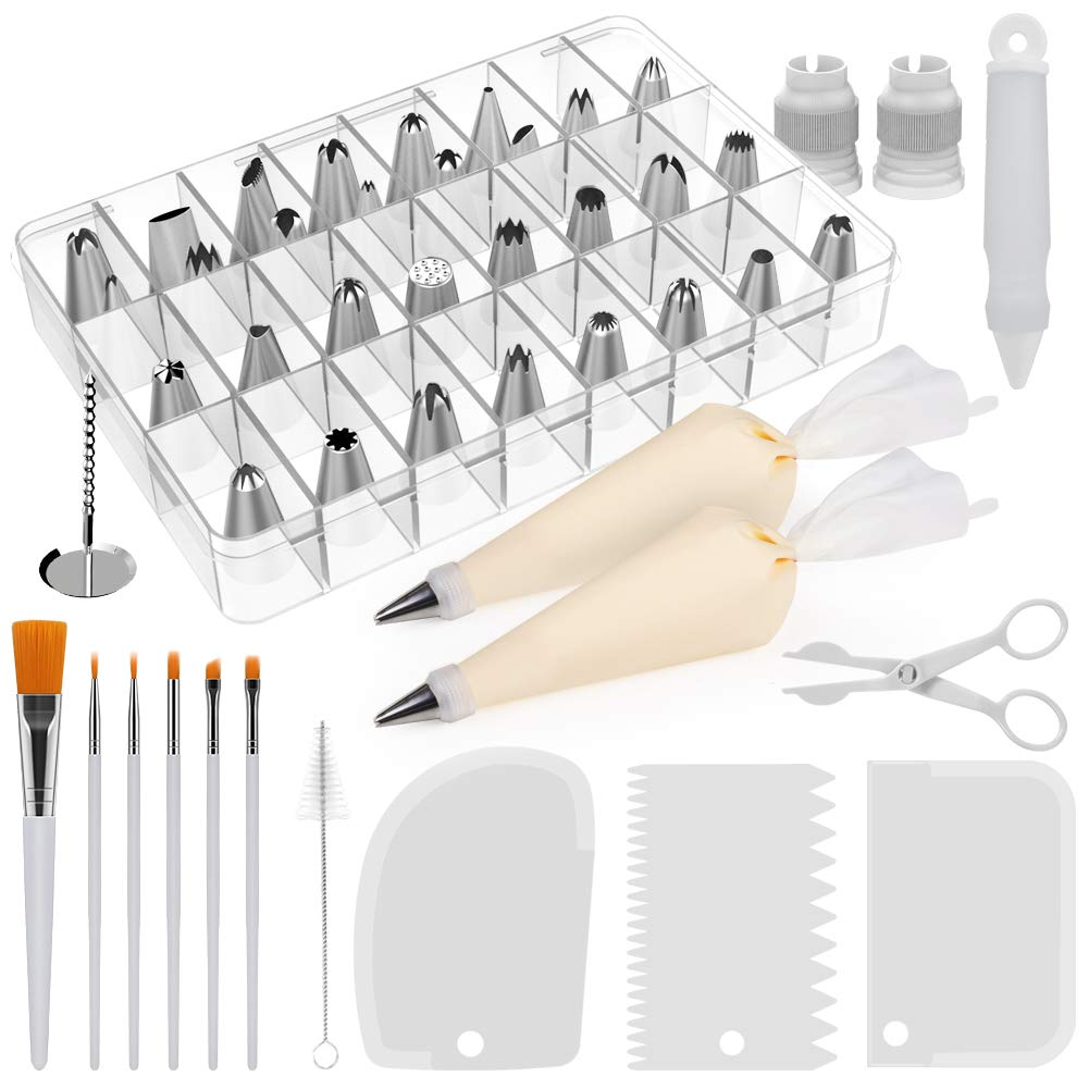 Kootek 47-Piece Cake Decorating Kits Supplies Frosting Tips Silicone Pastry Bags Couplers Smoother Paint Brushes Icing Pen Baking Tools by Kootek