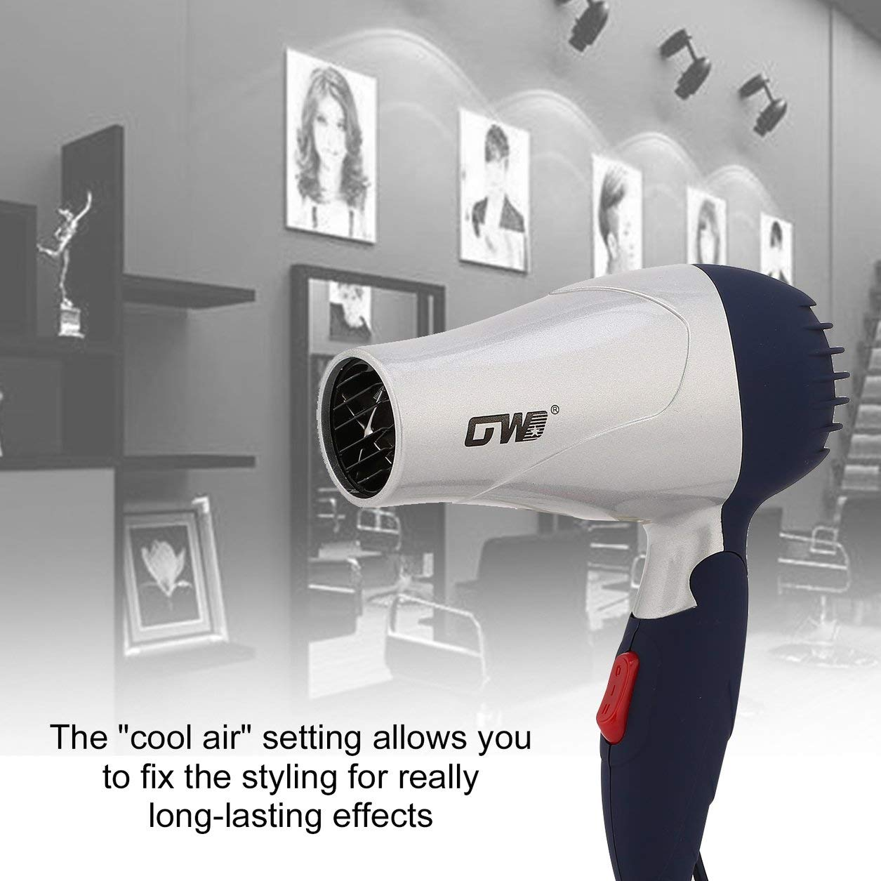 Ventilateur à faible bruit 220V EU de vent chaud de sèche-cheveux de la poignée pliable portative de la poignée 1500W Dailyinshop