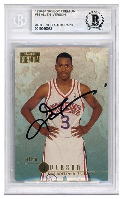 aa4b2e84404 Allen Iverson Autographed Signed 1996-97 Skybox Premium Rookie Card #85  Philadelphia 76ers -