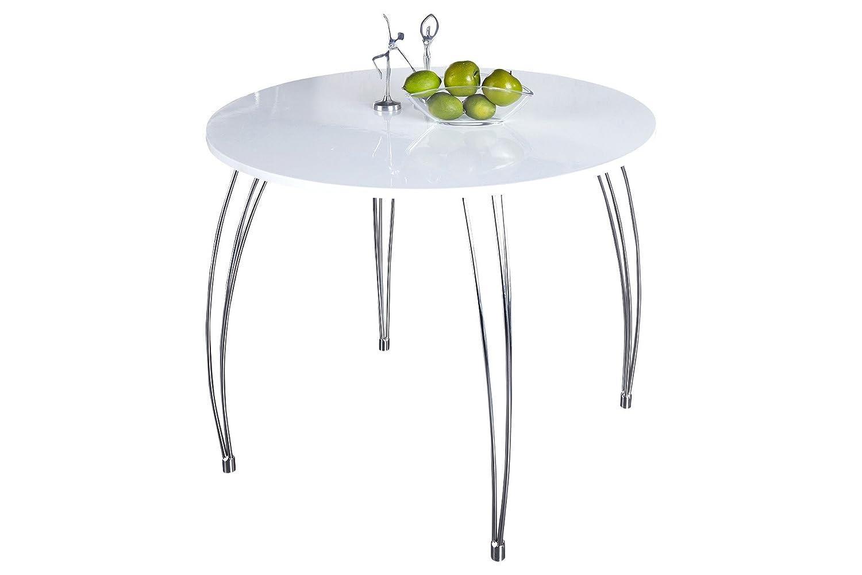 DuNord Design Esstisch Arrondi weiß rund modern B T H  90x90x76 cm