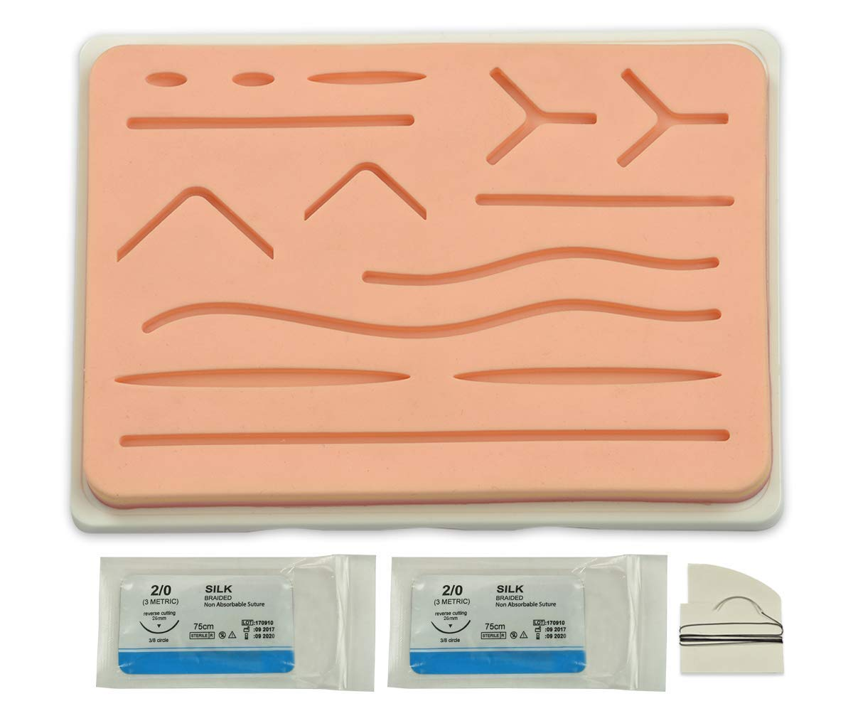 Original Suture Practice Pad (Large 7''x5'') with Silicone Base & Wounds - 2 Pc Needle & Silk Thread Free - Durable & Reusable Kit to Train on Realistic Skin with Anti Tear Technology & 3-Layer Mesh by IndusRiviera