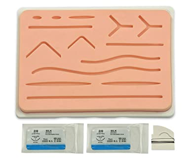 """f802751bd1 Original Suture Practice Pad (Large 7""""x5"""") with Silicone Base &  Wounds"""