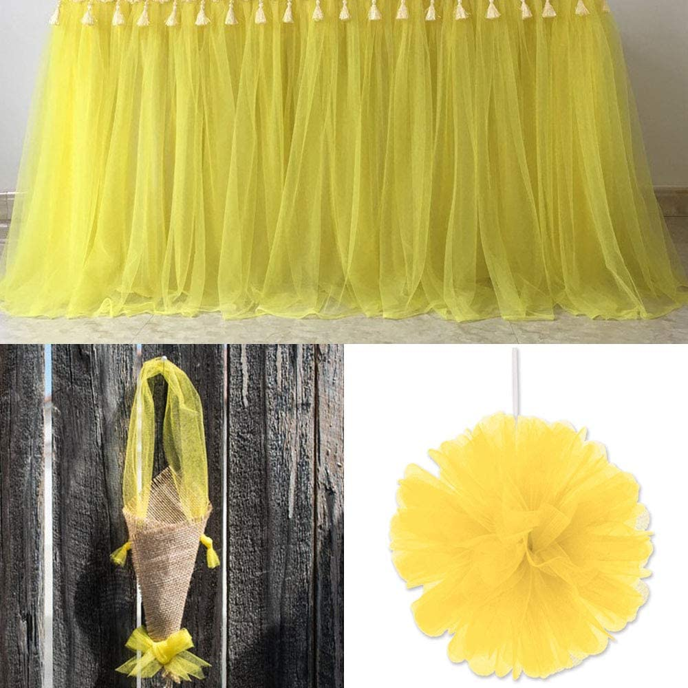 Yellow Phantomon 54 by 40 Yards 120 ft Fabric Tulle Bolt for Wedding Tutu Skirt Sewing Crafting Decoration Chair Sash Bow Gift Ribbon DIY Project