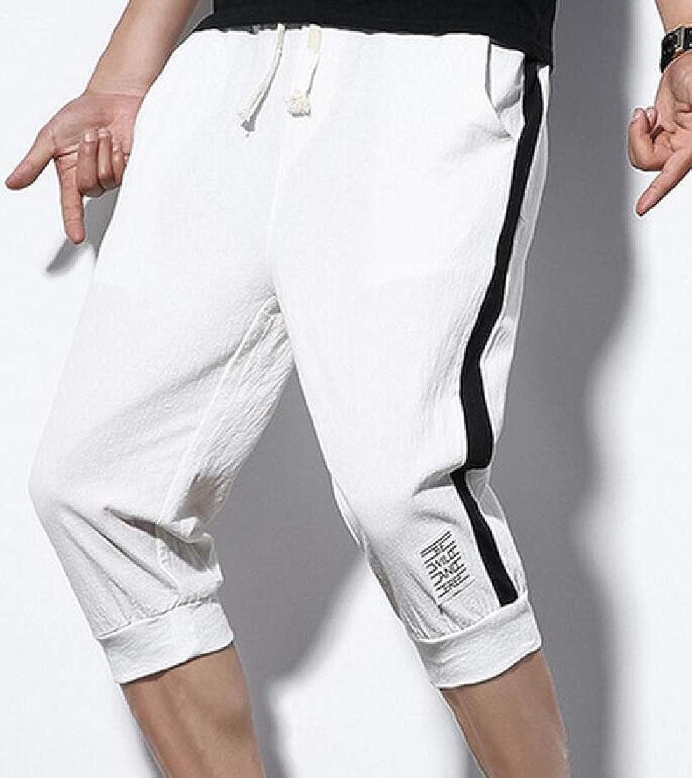 Wofupowga Mens Elastic Waist Sport Contrast Color Jogger Casual Capri Pants