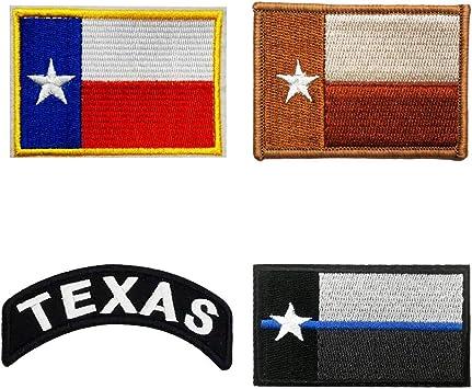Juego de 4 piezas de insignias del estado de Texas bordadas para planchar o coser. Parche moral, línea normal/azul/desierto: Amazon.es: Juguetes y juegos