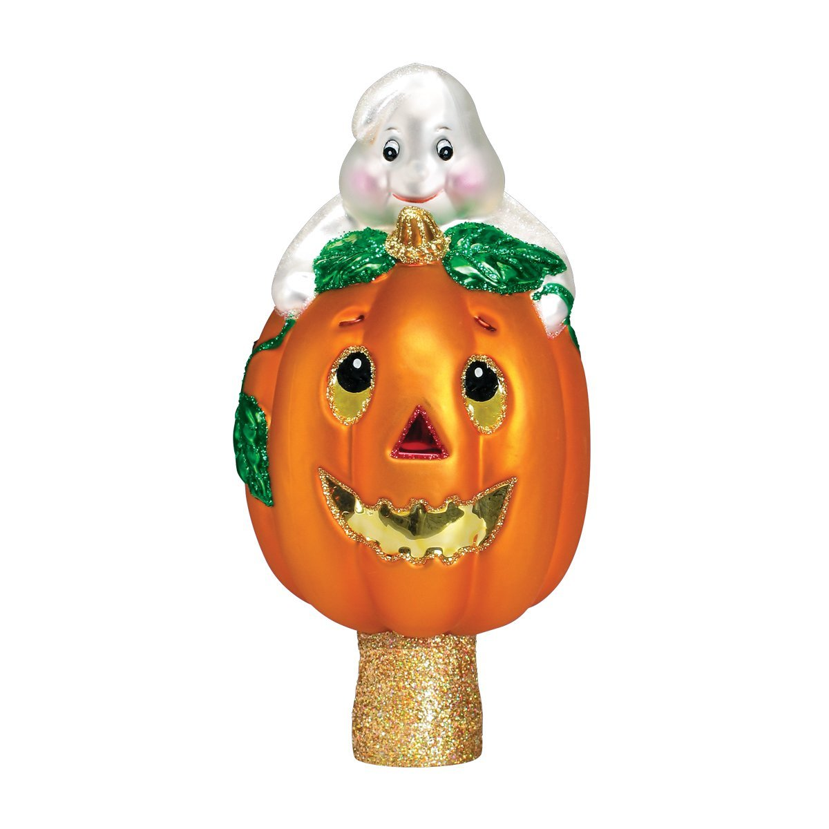 Old World Christmas Ghost And Pumpkin Tree Top Glass Blown Ornament