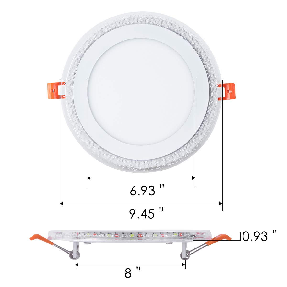 8 Inch Remote Control RGB LED Color Changing Recessed Ceiling Round Panel Lights, Cool White 6500k+ RGB Ultra Thin with Driver, AC100-240V 18+6W, Office, Home, Commercial Lighting Pack of 5 by zhaosheng (Image #5)