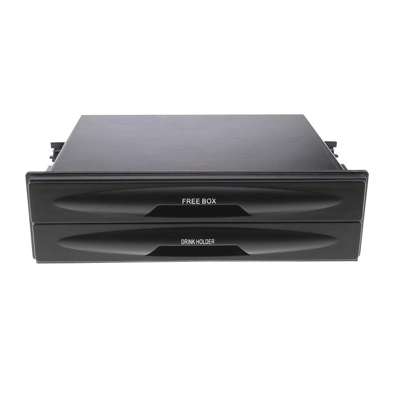 Storage Box SING F LTD Universal Car Single Din Double-Deck Radio Pocket with Cup Holder