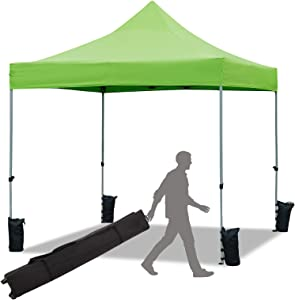 Sunshine 10 x 10 Pop Up Canopy Tent Event Tent Parties, Heavy Duty Canopy for Outdoor Activites, 100 Sq. Ft of Shade (Green)