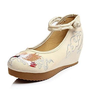 Zapatos Bordados Chinos De Las Mujeres Ballet Bailando Casual Mocasines De Tela Plana (Color : Beige, Tamaño : 34): Amazon.es: Hogar