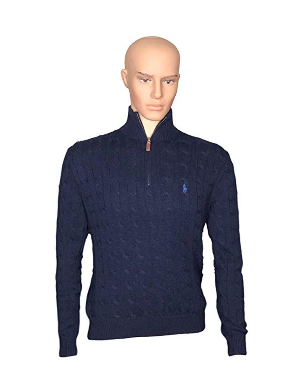 Polo Ralph Lauren Mens Mock Neck Cable Knit Sweater (L, Navy Blue)
