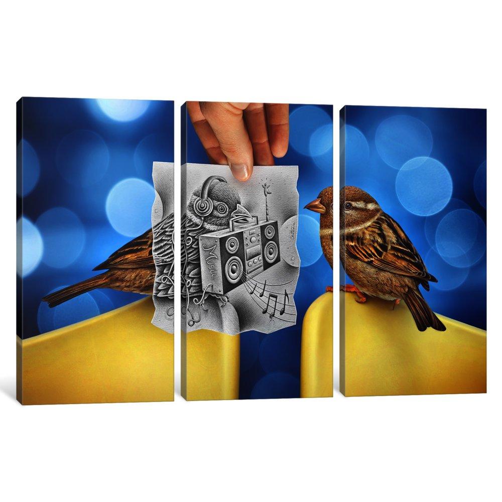 0.75 by 60 by 40-Inch iCanvasART 3 Piece Pencil Vs Camera 66-Electro Birds Canvas Print by Ben Heine