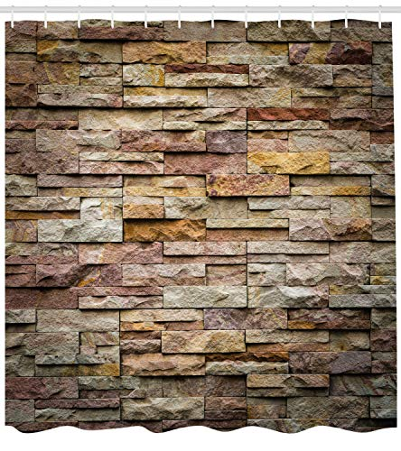 (Ambesonne Marble Shower Curtain, Urban Brick Slate Stone Wall with Rocks Featured Facade Architecture Town Picture, Fabric Bathroom Decor Set with Hooks, 75 Inches Long, Light Brown)