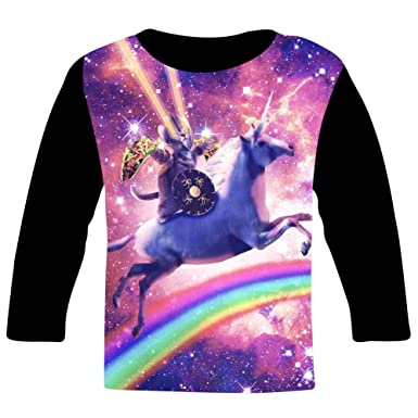 885fc507ae36 Children s O-Neck Rainbow Unicorn Cat 3D Printing Full Width Long Sleeve T- Shirt