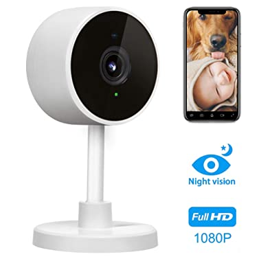 LARKKEY 1080p WiFi Home Smart Camera, Wireless Indoor 2.4G IP Security Surveillance with Night Vision, Monitor with iOS, Android App, Compatible with Alexa (White)