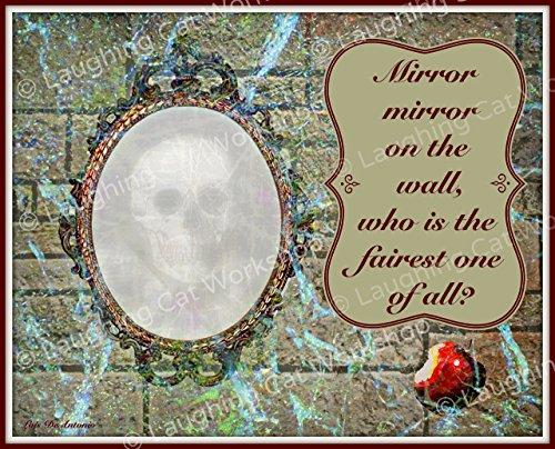 Snow white art, Mirror Mirror on the wall art, Evil queen art, Evil witch art, fairy tale wall art, girls room decor, poison apple art, skull Halloween (Halloween Poison Apples)