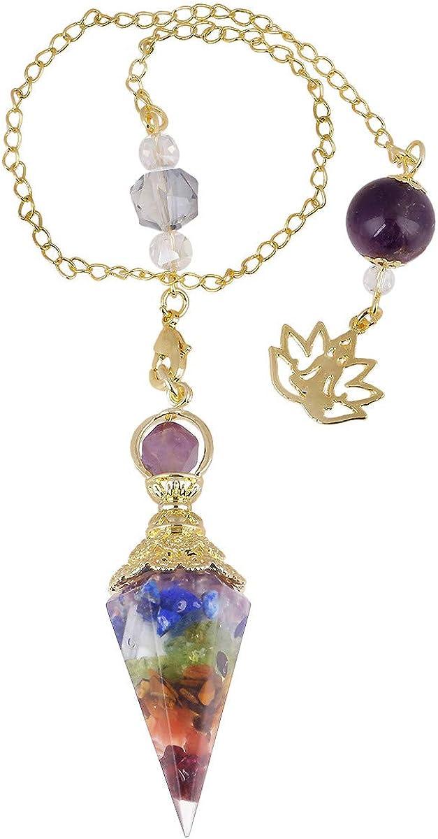 TUMBEELLUWA Orgone Crystal Point Pendulum for Divination Dowsing Chakra Reiki Balancing, Healing Crystals Stone Pendant with Yoga Charms