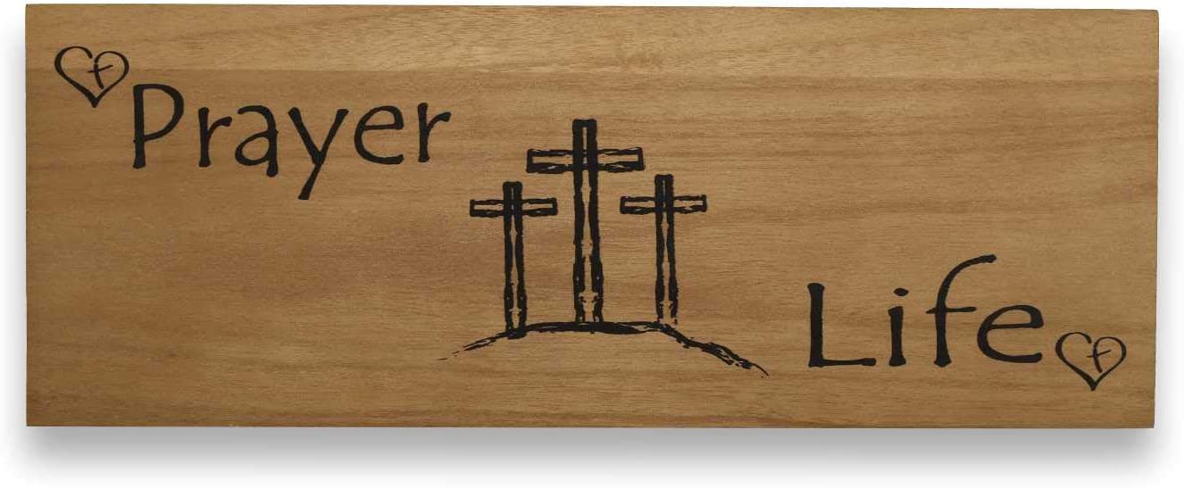 Spiritual Decor Christian Wall Art Jesus Cross Wall Hangings Wooden Plaque Remember Your Prayer Life(6 X 16 inches) - for Home Office Rustic Inspirational Motivational Accent Sign