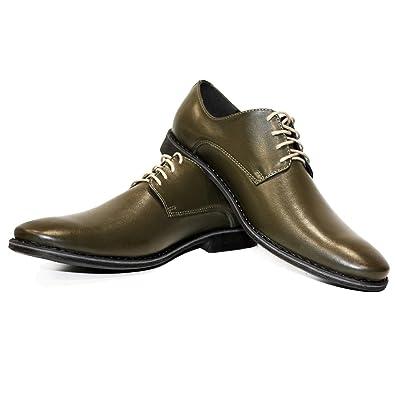 Modello Greenlando - Cuero Italiano Hecho A Mano Hombre Piel Verde Zapatos Vestir Oxfords - Cuero Cuero Suave - Encaje: Amazon.es: Zapatos y complementos