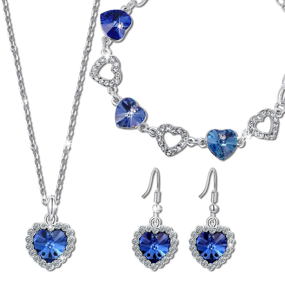 QIANSE Heart of Ocean Sapphire Jewelry Set Swarovski Crystals Titanic Jewelry for Women, Heart Pendant Necklace Tennis Bracelet Dangle Earrings Set Birthday Gifts for Women for Her