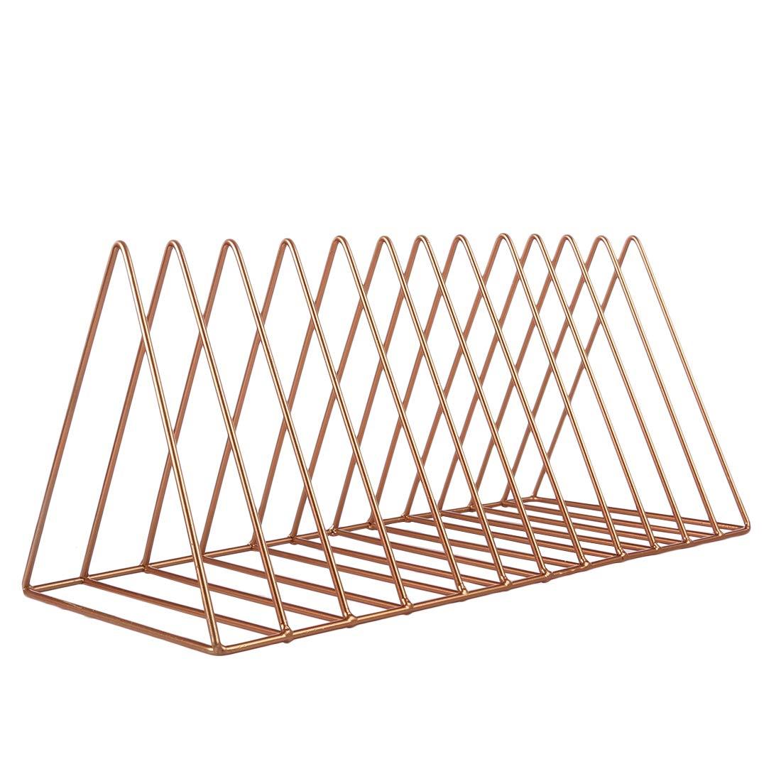 HMANE Desktop Letter Sorter,Large Triangle Book Holder Wire Metal Desktop Storage Rack Magazine Holder - (Rose Gold)