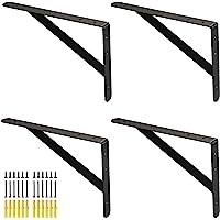 Zwaarlasthoekrek, rekhoek, zwart, 300 x 200 mm, voor zware lasten, metalen hoek van plat staal, 4 stuks, plankdrager…