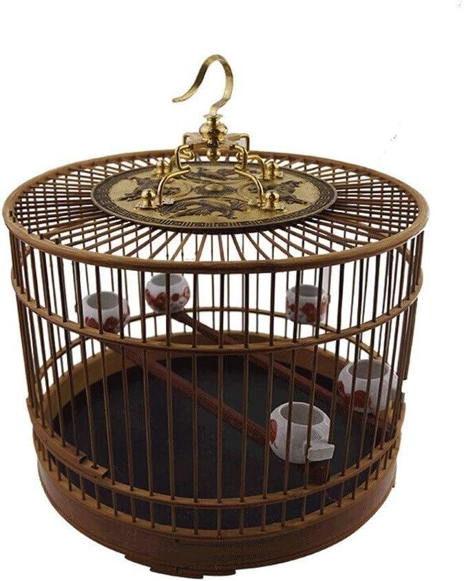 Jaulas para pájaros Jaula de pájaros Interior y al Aire Libre Bambú Villa de Aves Estilo Chino Diámetro del diseño Retro 29 cm