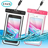 """Waterproof Phone Case, 2 Pack IPX8 Cellphone Dry Pouch Bag for Apple iPhone Xs XR XS MAX,X, 8, 7, 6 Plus, SE,Samsung S9+ S9 S8+ LG V20 HTC, Up to 6.0"""", Snowproof Dirtproof Outdoor Sports, Fluorescent"""