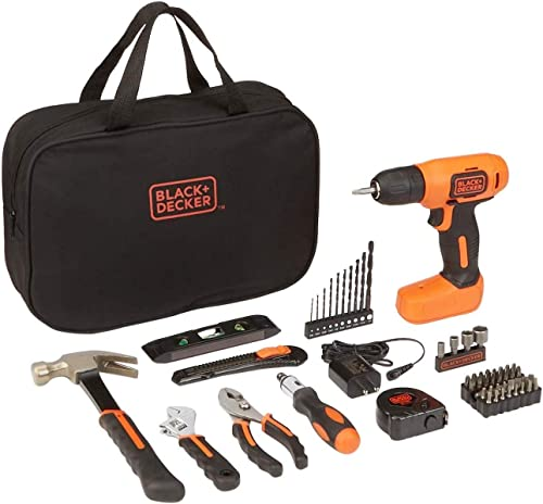 BLACK DECKER 8V Drill Home Tool Kit, 57 Piece BDCD8PK