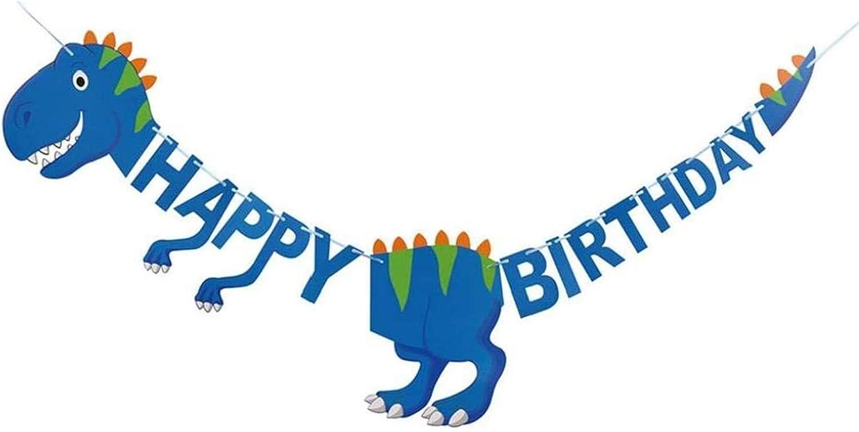Azul) 2M Banner de Feliz Cumplea/ños de Dinosaurio Banner de Dinosaurio para Decoraci/ón Ni/ños Feliz Cumplea/ños Decoracion Banderines y guirnaldas