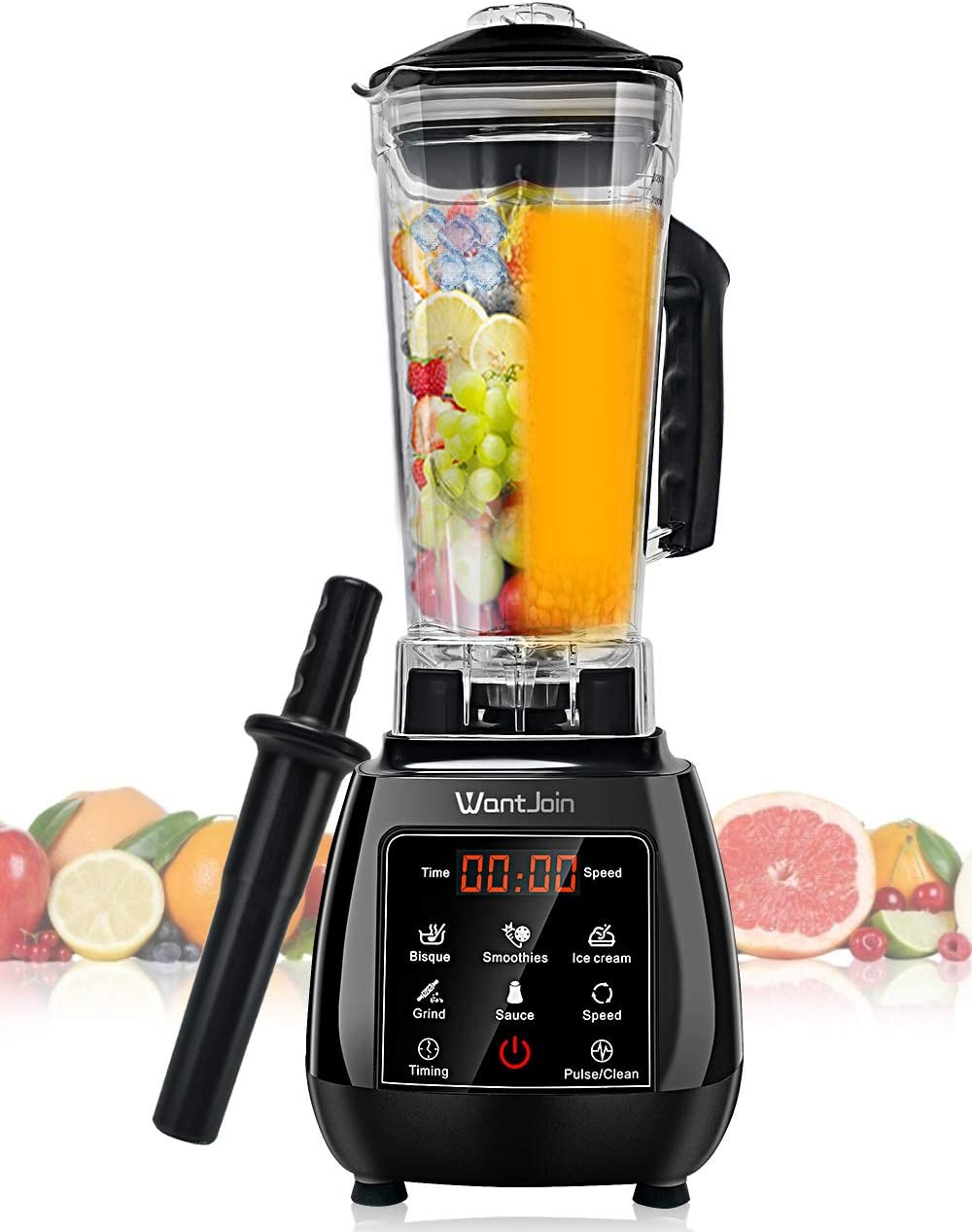 WantJoin Blender for Kitchen Professional Blender Professional Commercial blender Countertop Blender Professional Blender for Shakes, Smoothies,Puree, Bisque,hummus,Anti-drop PC Pitcher Blender with Touch Panel Control, Blender Cold and Hot with 8 Stainless Steel Blades, Professional-Grade Power (RED)