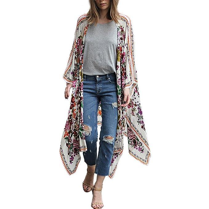 SHOBDW Liquidación de la Venta Moda para Mujer Estampado Floral Gasa Chal Flojo Kimono Cardigan Talla