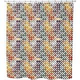 Uneekee Happy Star Bingo Shower Curtain: Large Waterproof Luxurious Bathroom Design Woven Fabric