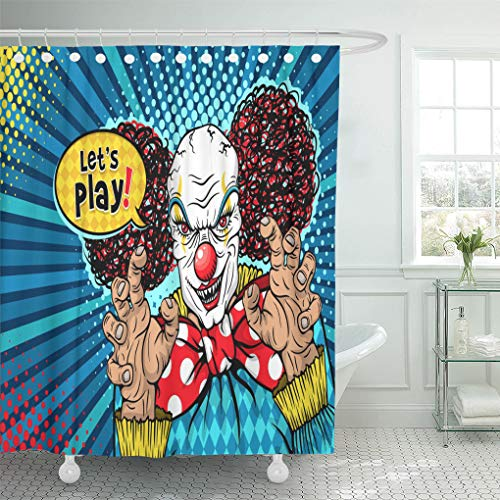 Semtomn Shower Curtain Let Play Evil Scary Clown Monster Big Red Bow Shower Curtains Sets with 12 Hooks 72 x 78 Inches Waterproof Polyester Fabric]()