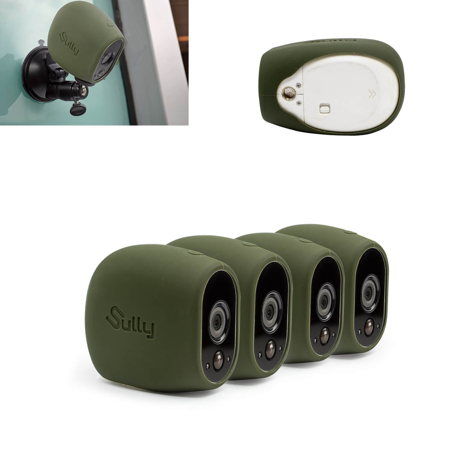 Silicone Skins for Arlo HD (4 pcs green) for Arlo HD Wireless Free Camera Protective Case - for Netgear Arlo HD Smart Security Accessories Silikon Case - For VMS3230- By Sully