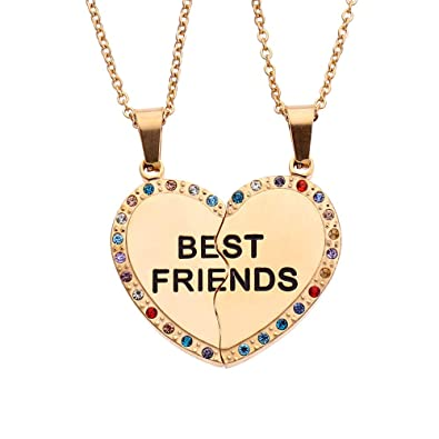 95372ff6b0 FANSING Best Friends 2PCS Relationship Necklace, Matching Heart Pendant,  Stainless Steel, Friendship Jewelry