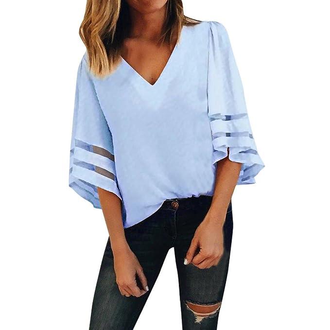 Damen Bluse V-Ausschnitt Tops Oberteile Freizeit Langarm Tunika T Shirt Hemd