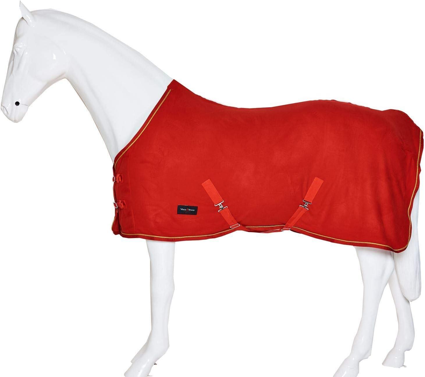 White Horse Equestrian Alfombra de Forro Polar para Caballo, Color Blanco