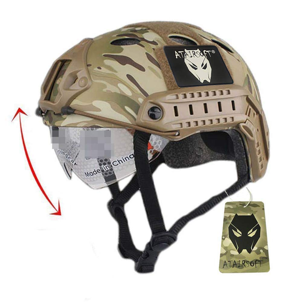 ATAIRSOFT PJ Type Tactical Fast Helmet w/Protective Goggles Version Multicam by ATAIRSOFT