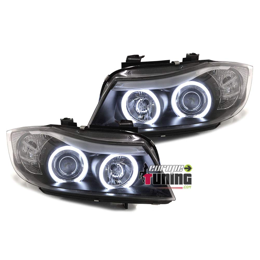 00754 europetuning PHARES FEUX NOIRS ANGEL EYES ANNEAUX LED CCFL SERIE 3 E90 /& E91 PHASES 1 05-08