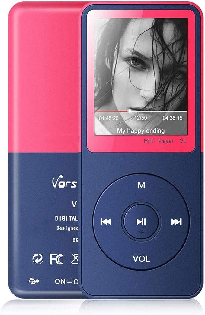 Reproductor de MP3, Vorstik Reproductor de Música HiFi Lossless Sound, Reproductor de Audio Digital de 1,8 Pulgada, hasta 100 Horas de Reproducción, Tarjeta de 128GB TF Ampliable.