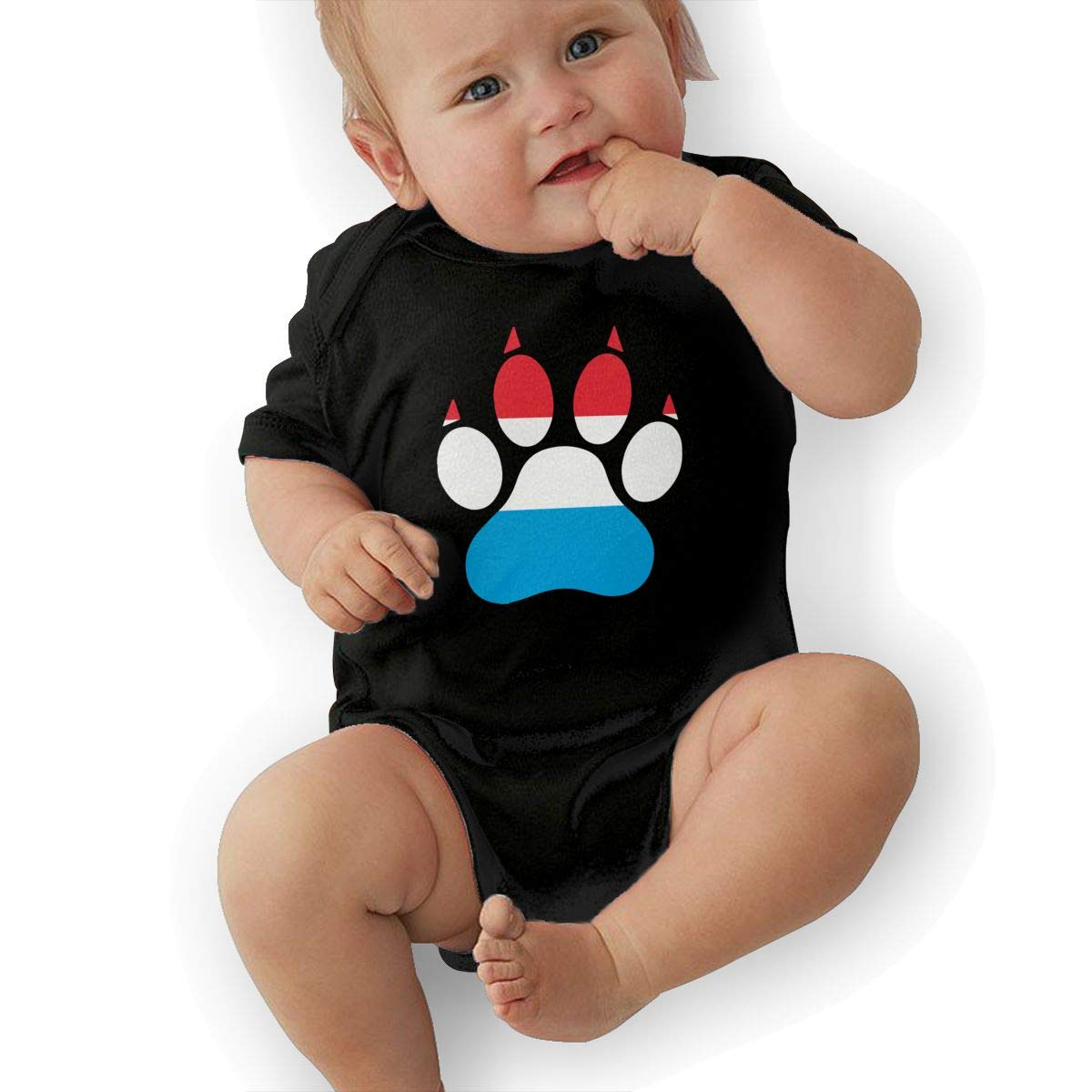 Short Sleeve Cotton Rompers for Unisex Baby Fashion Luxembourg Dog Paw Sleepwear
