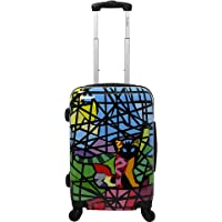 "Chariot Chariot 20"" Lightweight Spinner Carry-on Upright Suitcase - Stained Glass Cat"