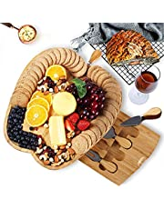 NIUXX Organic Bamboo Cheese Board with 4 Cheese Knives Set for Kitchen, 2 Compartments and 1 Sauce Container Charcuterie Platter, Rectangle Serving Tray with Hidden Cutlery Drawer for Party