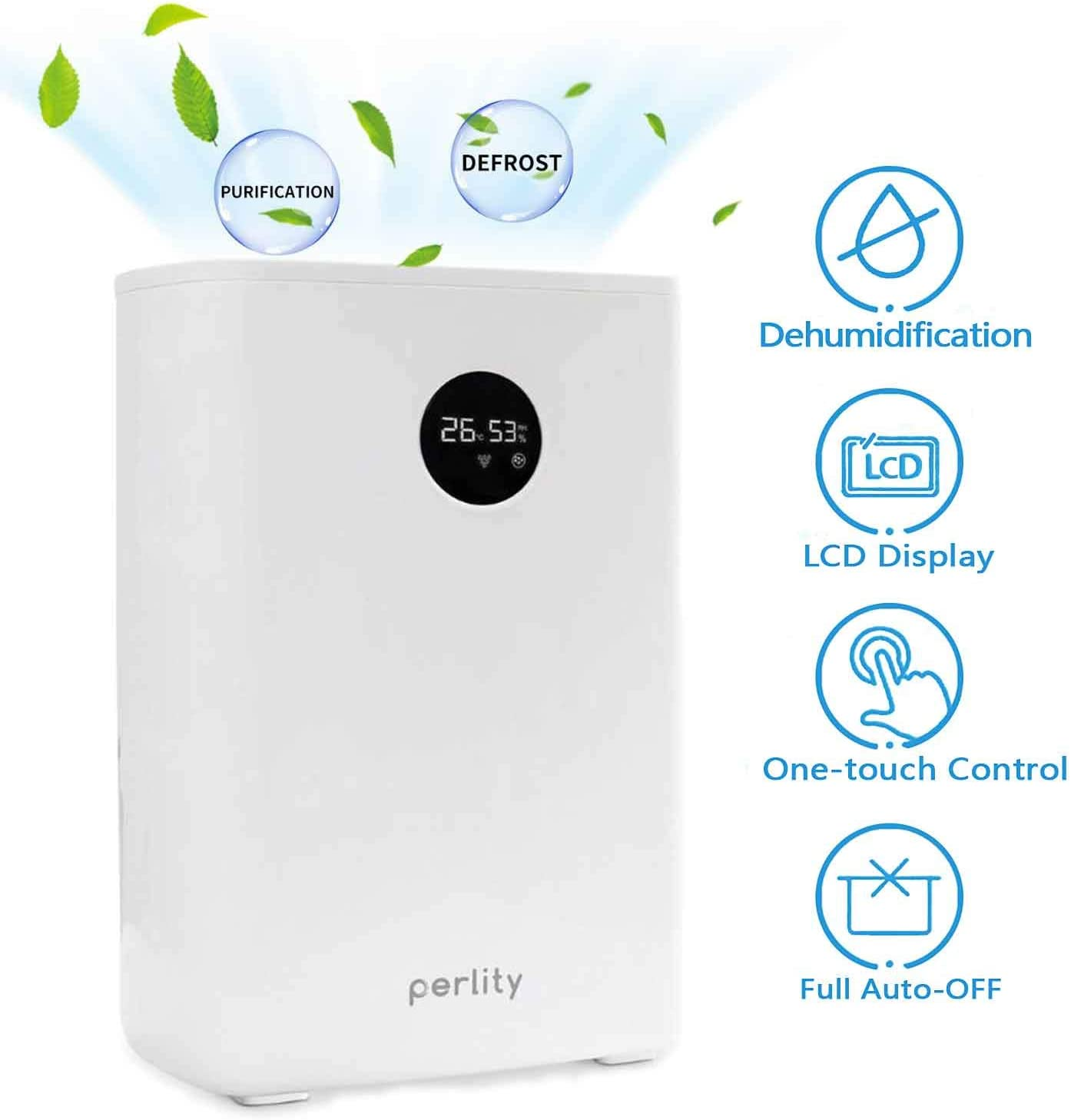 Perlity Dehumidifier Pint Dehumidifier Portable Electric Mini Dehumidifier for Bathroom with Round LCD White