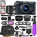 Canon EOS M6 Mirrorless Digital Camera (Black) Premium Accessory Bundle with Canon EF-M 15-45mm IS STM Lens (Graphite) + Canon Water Resistant Case + 64GB Memory + HD Filters + Auxiliary Lenses